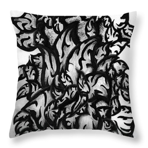 Garden Throw Pillow featuring the drawing Gardena 2 by Crystal Webb