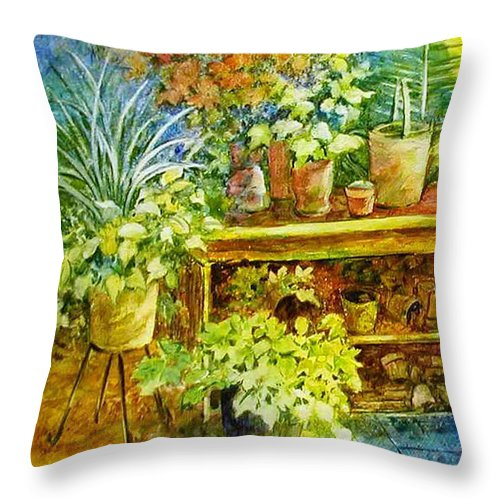 Greenhouse;plants;flowers;gardener;workbench;sprinkling Can;contemporary Throw Pillow featuring the painting Gardener's Joy by Lois Mountz