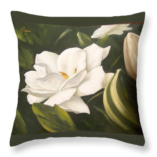 Gardenia Flower Throw Pillow featuring the painting Gardenia by Natalia Tejera