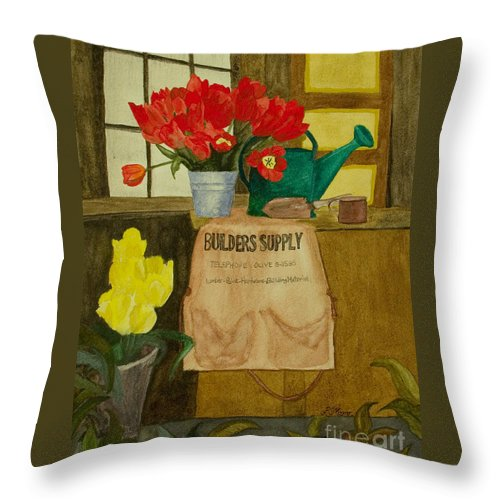 Tulips Throw Pillow featuring the painting Gardner by Louise Magno