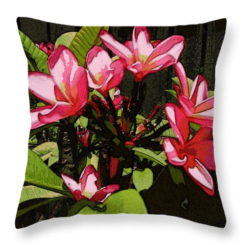 Frangipani Throw Pillow featuring the digital art Gardren Joy by Winsome Gunning