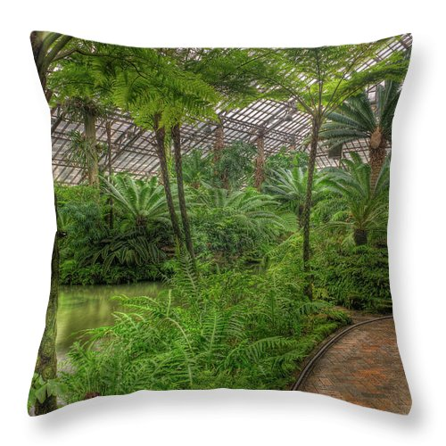 Chicago Throw Pillow featuring the photograph Garfield Park Conservatory Pond And Path Chicago by Steve Gadomski