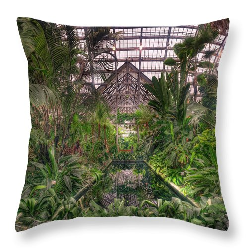 Greenhouse Throw Pillow featuring the photograph Garfield Park Conservatory Reflecting Pool by Steve Gadomski