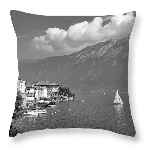 Lake Throw Pillow featuring the photograph Gargnano On Lake Garda, Italy.  Black And White by David Lyons