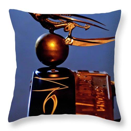 Gargoyle Throw Pillow featuring the photograph Gargoyle Hood Ornament 3 by Jill Reger