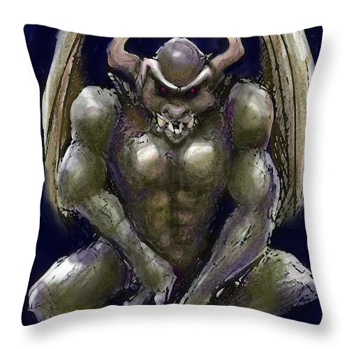 Gargoyle Throw Pillow featuring the greeting card Gargoyle by Kevin Middleton