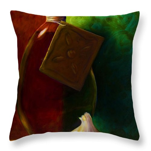 Shannon Grissom Throw Pillow featuring the painting Garlic And Oil by Shannon Grissom