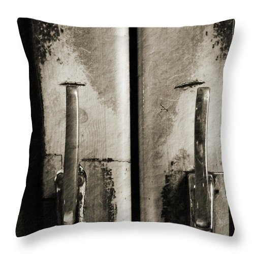 Architecture Throw Pillow featuring the photograph Garlocks Cooler Doors by James Zuffoletto