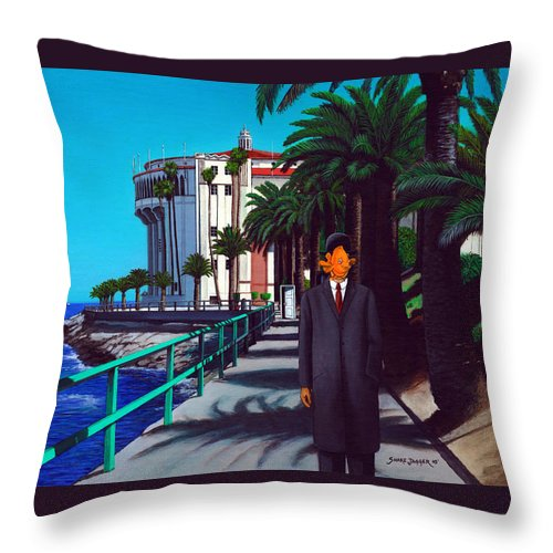 Catalina Throw Pillow featuring the painting Gary Baldie by Snake Jagger