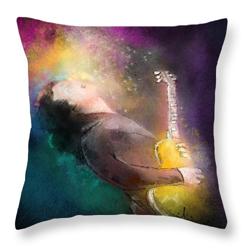 Music Throw Pillow featuring the painting Gary Moore 01 by Miki De Goodaboom