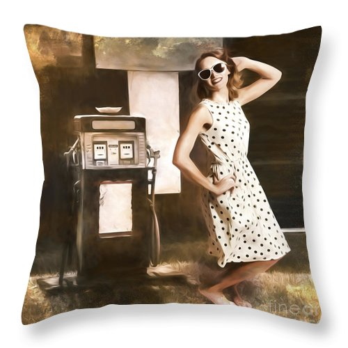 Gas Throw Pillow featuring the painting Gas And Oil Painting Pinup by Jorgo Photography - Wall Art Gallery