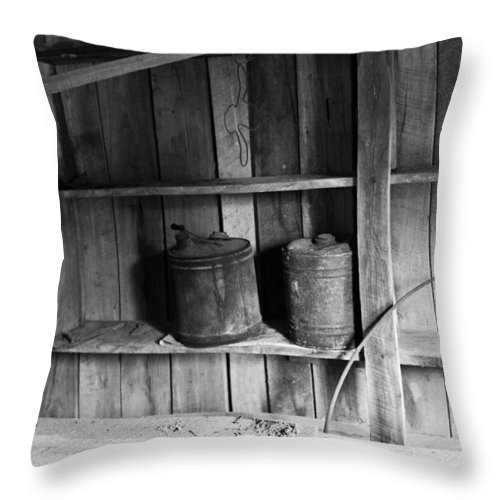 Gas Throw Pillow featuring the photograph Gas Cans by Douglas Barnett