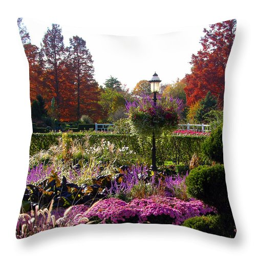 Gas Lamp Throw Pillow featuring the photograph Gas Lamp In Garden by John Lautermilch