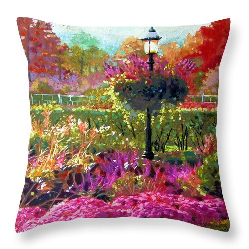 Landscape Throw Pillow featuring the painting Gas Light In The Garden by John Lautermilch