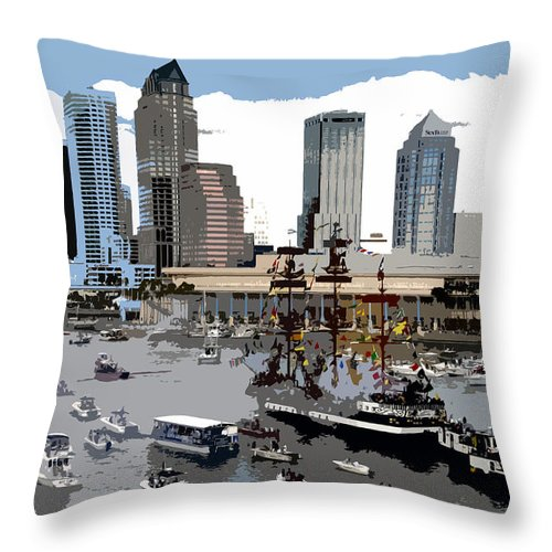 Gasparilla Pirate Invasion Throw Pillow featuring the painting Gasparilla Invasion Work Number 6 by David Lee Thompson