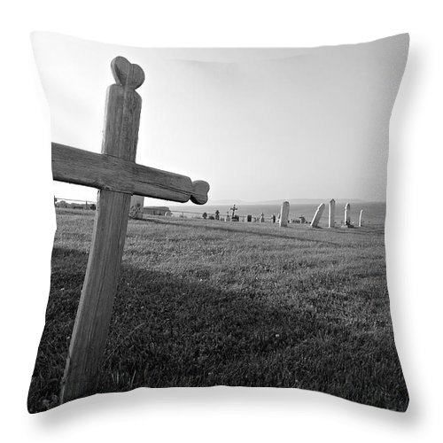 Cemetery Throw Pillow featuring the photograph Gaspe Cemetery by John Meader