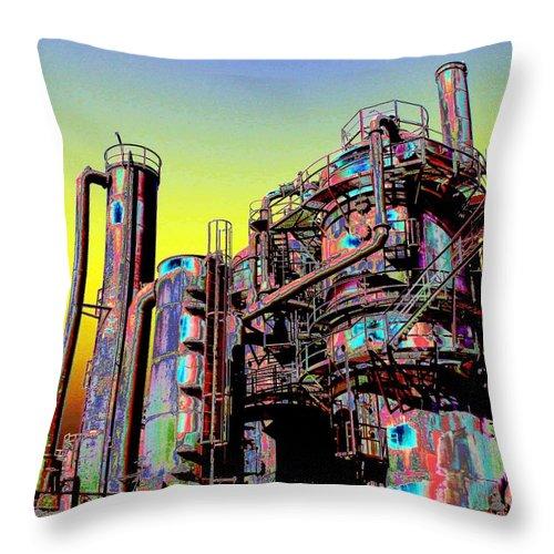 Seattle Throw Pillow featuring the digital art Gasworks Park 1 by Tim Allen