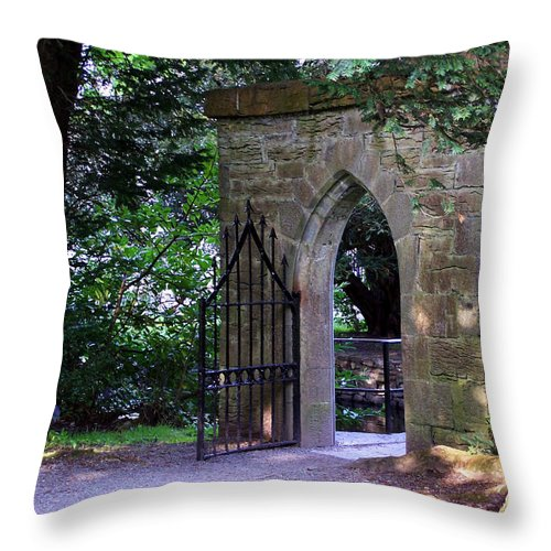Irish Throw Pillow featuring the photograph Gate At Cong Abbey Cong Ireland by Teresa Mucha
