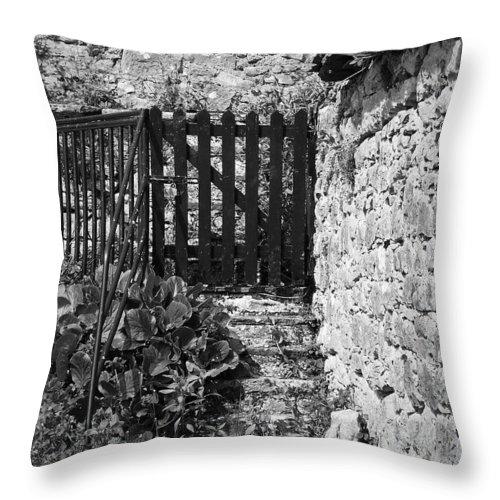 Irish Throw Pillow featuring the photograph Gate At Dunguaire Castle Kinvara Ireland by Teresa Mucha