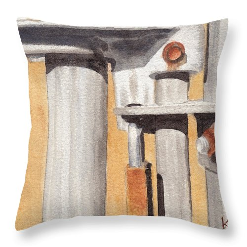 Gate Throw Pillow featuring the painting Gate Lock by Ken Powers