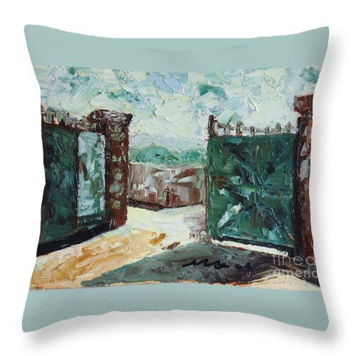 Gate Oil Canvas Throw Pillow featuring the painting Gate2 by Seon-Jeong Kim