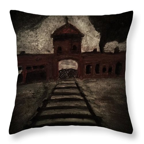 Auschwitz Throw Pillow featuring the painting Gateway by Daniel Donnelly