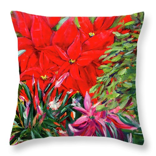 Poinsettia Throw Pillow featuring the painting Gather Round Friends by Vicki VanDeBerghe