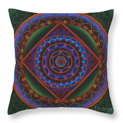 Mandala Throw Pillow featuring the painting Gather The Women by Charlotte Backman