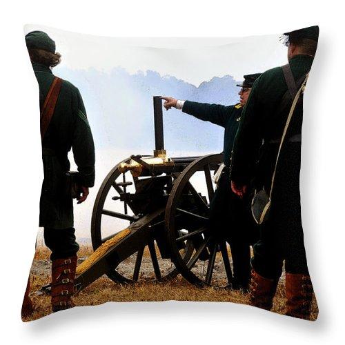 Gatling Gun Throw Pillow featuring the painting Gatling Gun On The Battle Field by David Lee Thompson