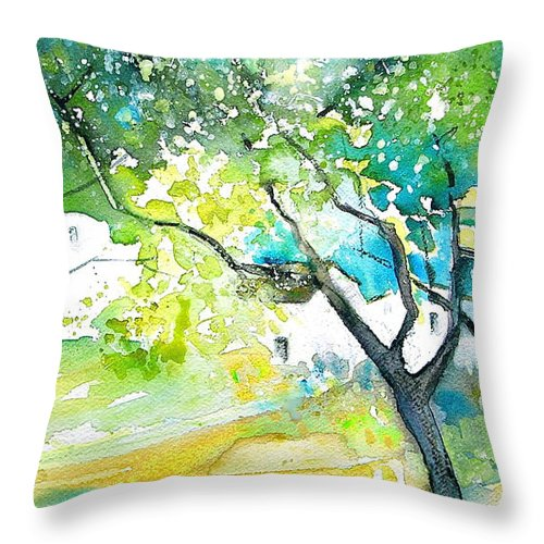 Spain Painting Water Colour Sketch Travel Gatova Throw Pillow featuring the painting Gatova Spain 04 by Miki De Goodaboom