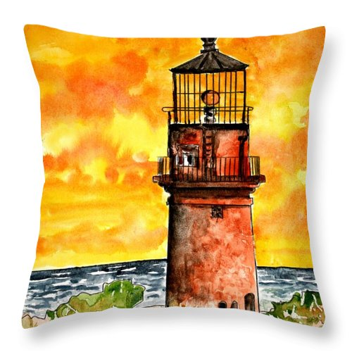 Beach Throw Pillow featuring the painting Gay Head Lighthouse Martha's Vineyard by Derek Mccrea