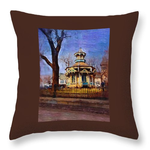 Architecture Throw Pillow featuring the digital art Gazebo And Tree by Anita Burgermeister