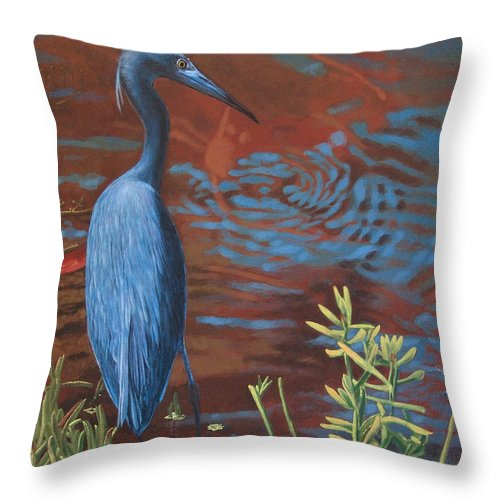 Painting Throw Pillow featuring the painting Gazing Intently by Peter Muzyka