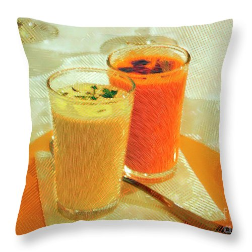 Ebsq Throw Pillow featuring the photograph Gazpacho Aperitifs by Dee Flouton