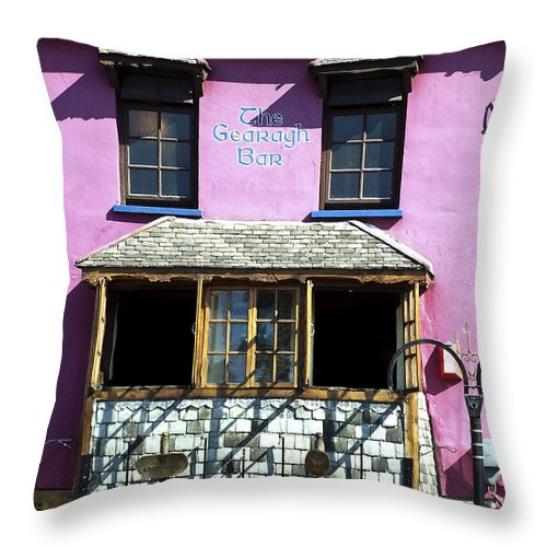 Irish Throw Pillow featuring the photograph Gearagh Pub in Macroom Ireland by Teresa Mucha