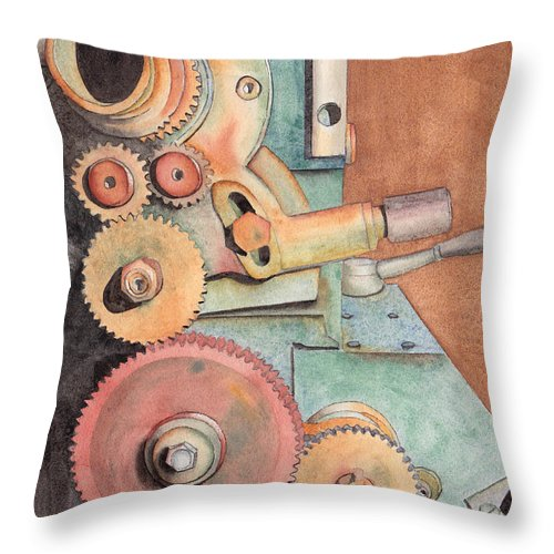 Gears Throw Pillow featuring the painting Gears by Ken Powers