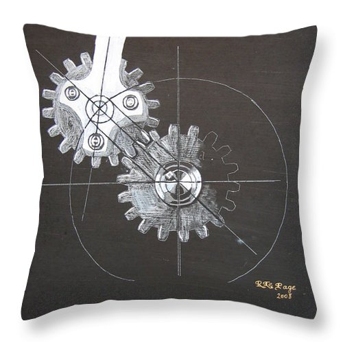 Gears Throw Pillow featuring the painting Gears No1 by Richard Le Page