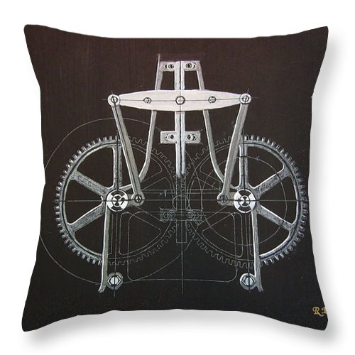 Gears Throw Pillow featuring the painting Gears No2 by Richard Le Page