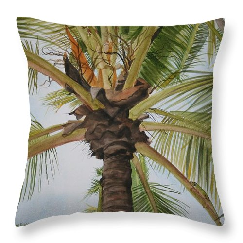 Palm Tree Throw Pillow featuring the painting Gecko Heaven by Jean Blackmer