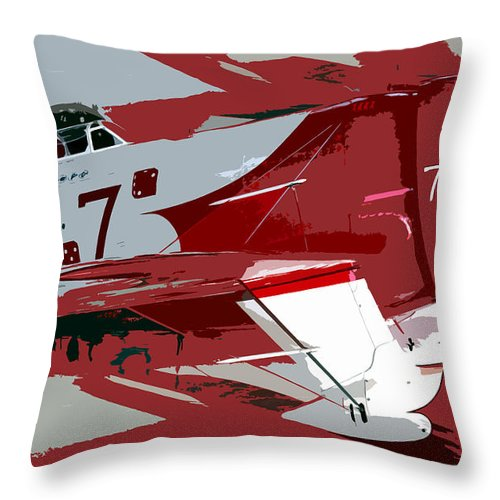 Gee Bee Racer Throw Pillow featuring the painting Gee Bee Racer by David Lee Thompson