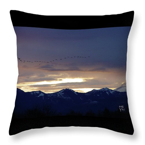 Cascade Throw Pillow featuring the photograph Geese Over The Cascades by Shirley Heyn