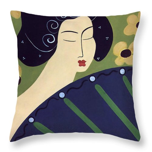 #japanese Throw Pillow featuring the painting Geisha Doll by Jacquelinemari