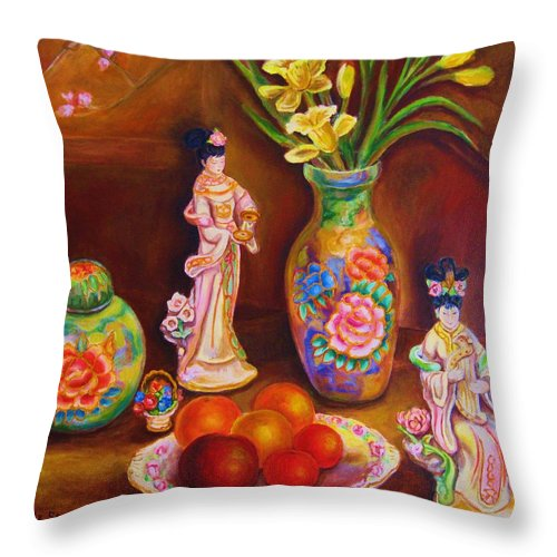 Geishas Throw Pillow featuring the painting Geisha Dolls by Carole Spandau