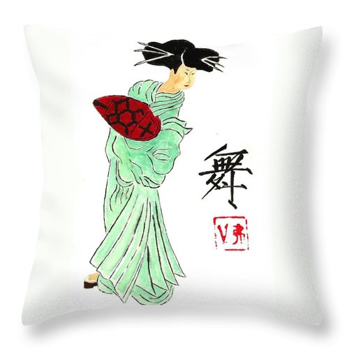 China Throw Pillow featuring the painting Geisha Girl Dancing by Michael Vigliotti