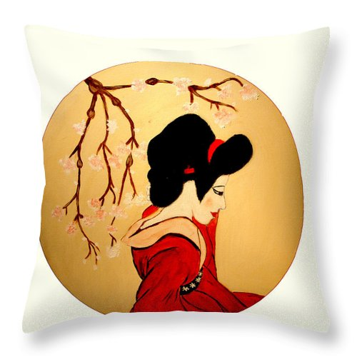 Geisha Girls Throw Pillow featuring the painting Geisha Girl by Rusty Gladdish