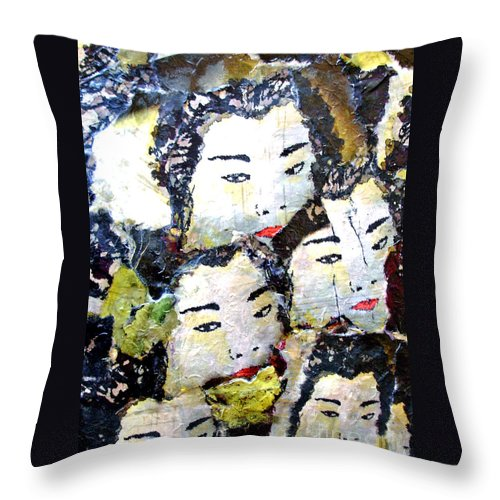 Geisha Girls Throw Pillow featuring the mixed media Geisha Girls by Shelley Jones