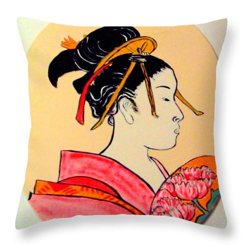 Geisha Girls Throw Pillow featuring the painting Geisha in the house of pleasure by Rusty Gladdish