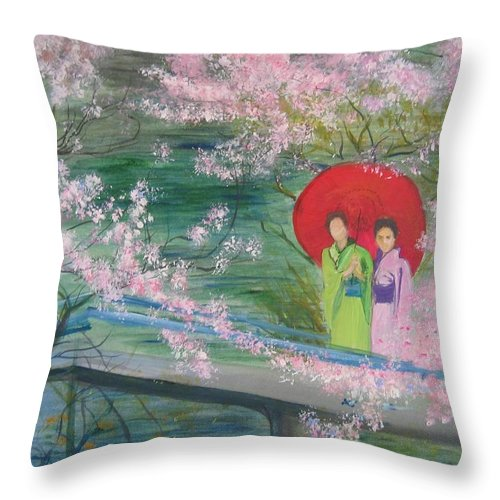 Landscape Throw Pillow featuring the painting Geishas And Cherry Blossom by Lizzy Forrester
