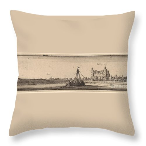 Throw Pillow featuring the drawing Gelderspach by Wenceslaus Hollar