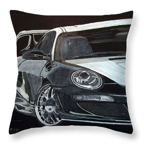 Car Throw Pillow featuring the painting Gemballa Porsche Right by Richard Le Page